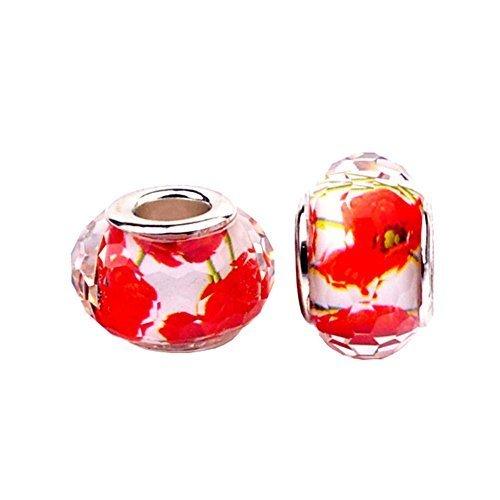 - Bling Stars Red Flower Lampwork Murano Glass Charms Bead For Snake Chain Bracelets