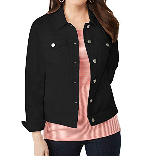 (Symbidium Women's Plus Size Classic Button Down Stretch Denim Jacket Coats Black)