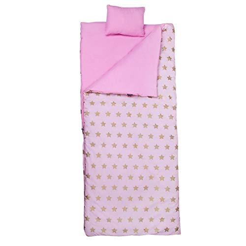 Wildkin Sleeping Bag, Pink & Gold Stars