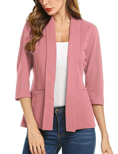 Concep Pink Blazer with Pockets Classic Notched Lapel Jacket Suit Stretchy Open Blazers (Dusty Rose, Large)
