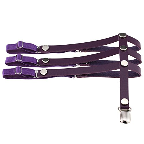 Gigamax(TM) Sexy Rock Leg Stud Punk Rivets Three Rows Choker Necklace Women Leather Elastic Garter Suspender Belt Thigh Gothic Maxi Necklace [ Purple ]