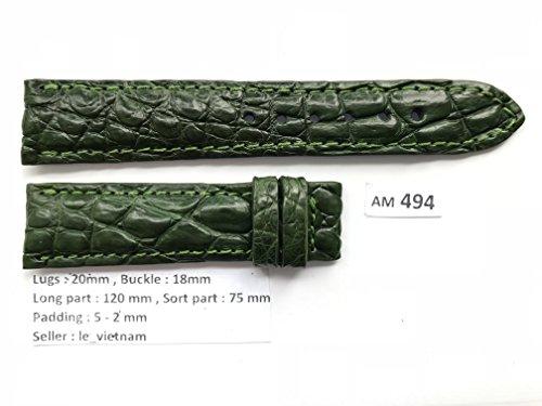 AM494 # Green GENUINE ALLIGATOR CROCODILE LEATHER SKIN WATCH STRAP BAND 20mm / (Green Crocodile Leather Watch)