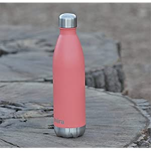 MIRA 25 Oz Stainless Steel Vacuum Insulated Water Bottle | Leak-proof Double Walled Powder Coated Cola Shape Bottle | Keeps Drinks Cold for 24 hours & Hot for 12 hours | 750 ml Coral