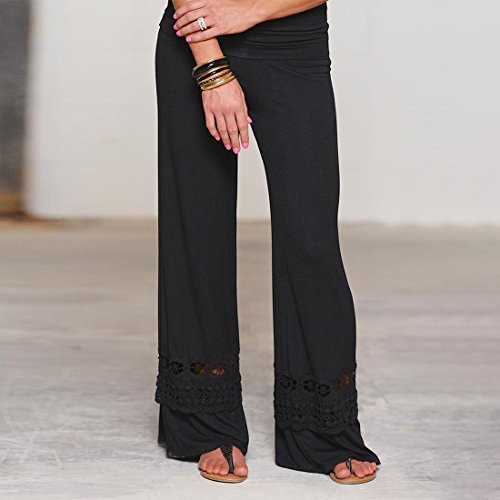 a Nero Pantaloni Pantaloni gamba in vita ginnastica alta in pizzo larga sportivi cotone Pantaloni a Pantaloni QIYUN da sportivi jogging Z elasticizzato q17gWWU