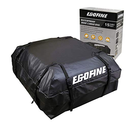 Egofine Rooftop Cargo Bag, Waterproof Car Rooftop Cargo Carrier Bag Car Roof Luggage Carrier Bag 15 Cubic Feet for Cars, Vans and SUVs with Roof Rail or Roof ()