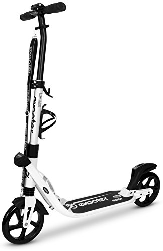 EXOOTER M2050WB 9XL Manual Adult Cruiser Kick Scooter with Dual Suspension Shocks and 200mm Black Wheels in - Scooter Suspension Wheel