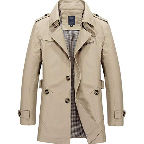 Mens Short Single Breasted Trench Coat Pea Coat Overcoat Windbreaker Jacket (A Style Light Khaki,US L=XXL) - Mens Khaki Windbreaker