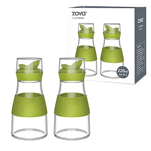 (zova Clear Glass Cruet Bottle with Double Pour Spout and Lid for Kitchen, Restaurant, Set of 2, 7.5 oz/220 ml)