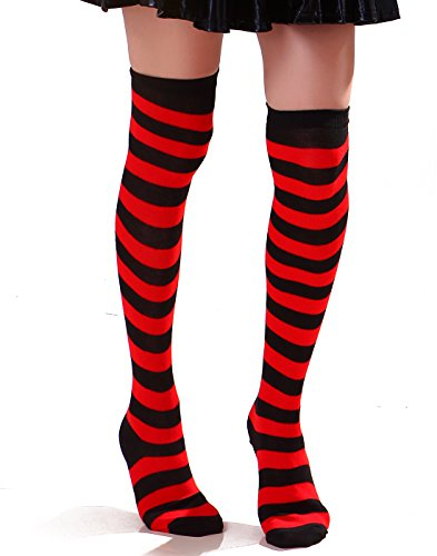 (Women's Extra Long Striped Socks Over Knee High Opaque Stockings (Black &)