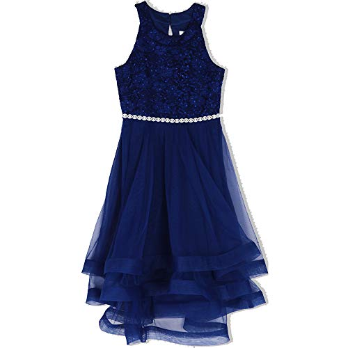 Speechless Girls' Big 7-16 Tween Sparkle Waist Party Dress with Wide Ribbon Hem, New Royal Blue, 7]()