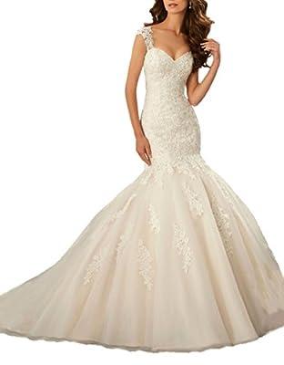 DreHouse Women's Cap Sleeve Mermaid Wedding Dresses Lace Backless Bride Dress
