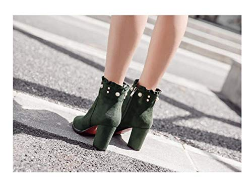 Mujer Invierno Zapatos Alto E Con Negras 35 Tacón Otoño Botas punta Caqui 41 Xdx De Gruesa 8EqdwSxA8