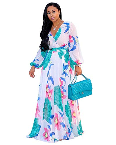 Halfword Women's Summer Long Maxi Dresses - Floral Printed V Neck Long Sleeve Wrap Boho Dreses White