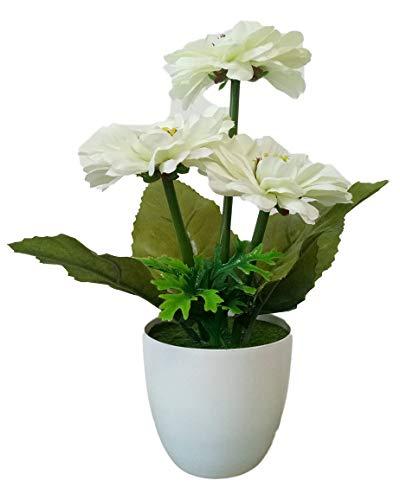 Artificial Flowers Fake Camellia Bonsai Decor Plants Home Kitchen Decorations Imitation Camellia with Plastic Pots (White)