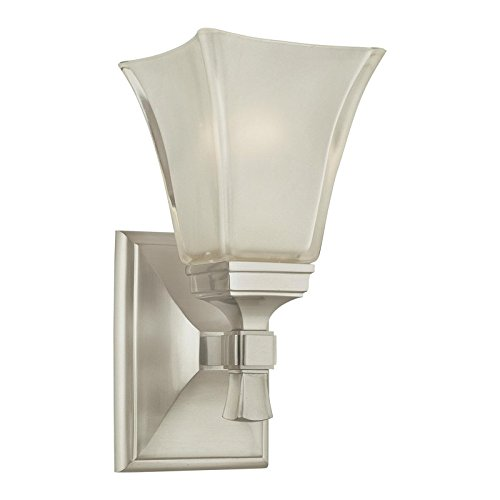 Kirkland 1-Light Vanity Light - Satin Nickel Finish with Clear/Frosted Glass Shade (Lamps Kirklands)