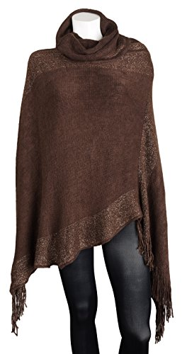 Sportoli Women's Thick Warm Knitted Winter Shawl Cape Poncho Wrap with Cowl Neck – Brown (One Size)