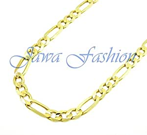 10K Yellow Gold Men Women's 7.5MM Hollow Figaro Chain Lobster Clasp, 20 to 28 Inches (28)