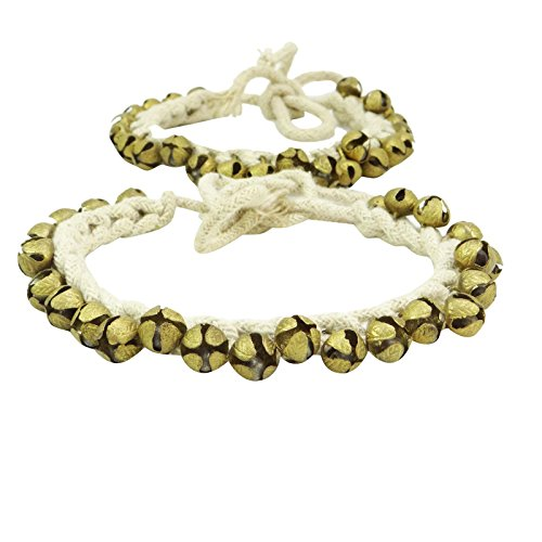 Designer Anklets (Banithani Handmade Goldtone Ghungroo Anklet Belly Dance Traditional Indian Jewelry)