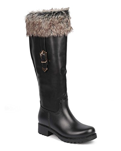 Women's Knee High Winter Snow Boots Mix Media Hard Toe Warm Faux Fur Water Resistant Rain Boots Black 8.5