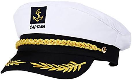 BESTOYARD Kapitänsmütze Marine Mütze für Erwachsene Kinder Kostüm Zubehör (Weiß)