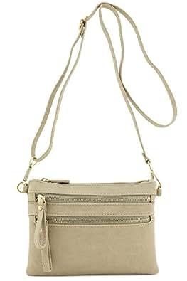 f9aba2f800 Multi Zipper Pocket Small Wristlet Crossbody Bag (Beige Brick ...