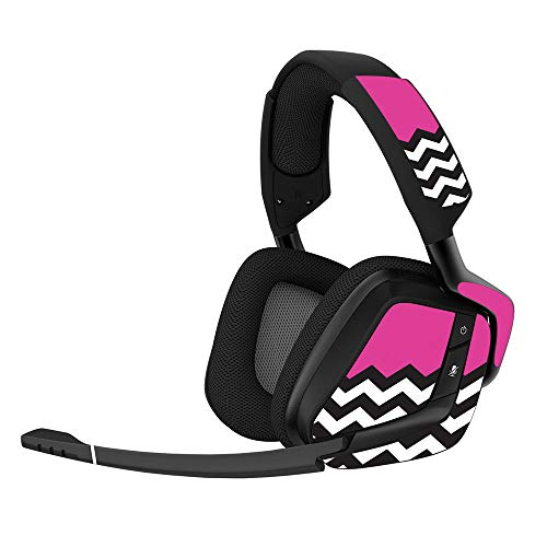 MightySkins Skin for Corsair Void Pro Gaming Headset - Hot Pink Chevron   Protective, Durable, and Unique Vinyl Decal wrap Cover   Easy to Apply, Remove, and Change Styles   Made in The USA