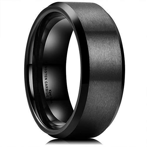 King Will Basic Men Wedding Black Tungsten Ring 8mm Matte Finish Beveled Polished Edge Comfort Fit (4.5)