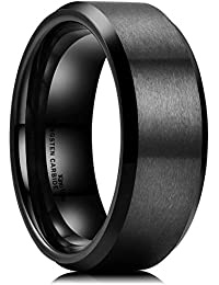 Basic Men Wedding Black Tungsten Ring 8mm Matte Finish Beveled Polished Edge Comfort Fit
