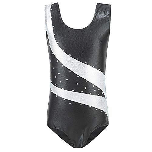 School Girls Metallic Leotard Gymnastics Ballet Dancewear Sleeveless One-Piece Shiny Sparkle Bodysuits Dance Competition Costume Unitard Sportwear Costume Training Leotards Black + White 5-6 Years ()