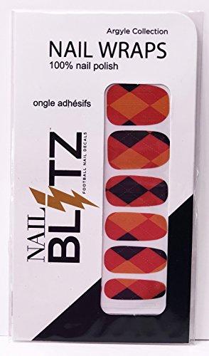 (Nail Blitz Pewter Red Bay 48 Swing 100% Nail Polish Football Inspired Nail Wrap Argyle Collection)