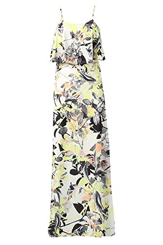 Momo & Ayat Mode Dames Robe Double Maxi Floral Couche Uk Taille 8-14 Citron