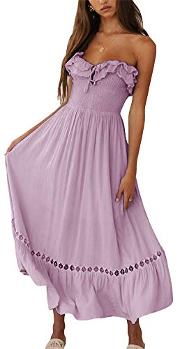 BOCOTUBE Women¡¯s Summer Sleeveless Strapless Ruffle Off Shoulder Fit and Flare Swing Dress Purple