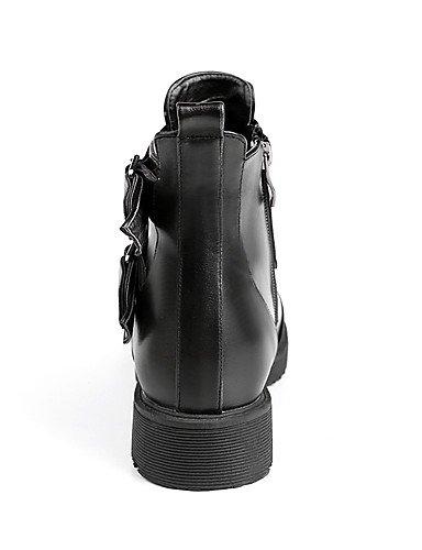 XZZ/ Damen-Stiefel-Büro / Kleid / Lässig-Kunstleder-Plateau-Armeestiefel / Rundeschuh / Modische Stiefel-Schwarz / Gelb black-us8.5 / eu39 / uk6.5 / cn40