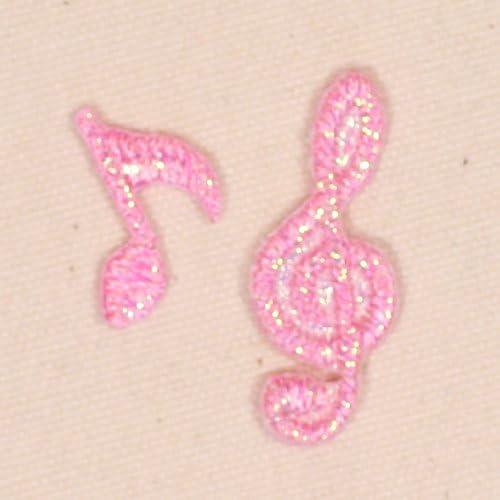 【音符 ピンクセット】ミノダ ラメポップ刺繍ワッペン