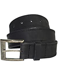 Men's Two Row Stitch Leather Belt Handmade by Charcoal Black (Size 36)