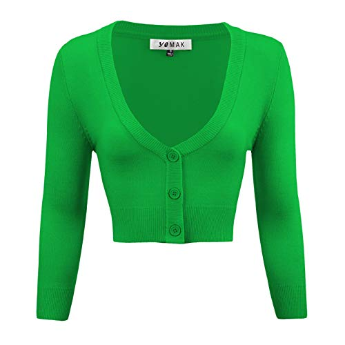 Women's Cropped 3/4 Sleeves Cardigan Sweater Vintage Inspired Pinup CO129-BGR-M Bright Green - Cropped 3/4 Sleeve
