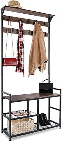 HOMEKOKO Coat Rack Shoe Bench Hall Tree Entryway Bench with Storage, Wood Look Accent Furniture with Metal Frame, 3-in-1 Design Dark Brown