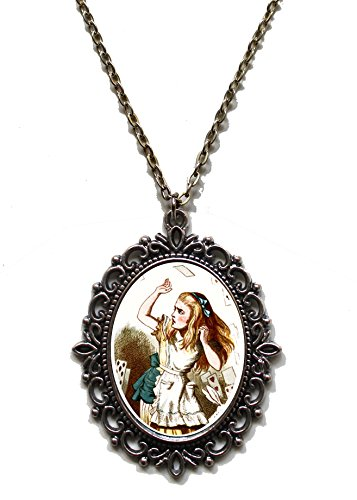 Victorian Vault Art Painting Alice in Wonderland Steampunk Pendant Necklace on Chain (022 Alice with (Goth Cheshire Cat Costume)