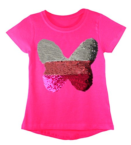 Kids Girls Changing Sequin Sizes Heart Butterfly Tops Brush Love Star 3-14 Years