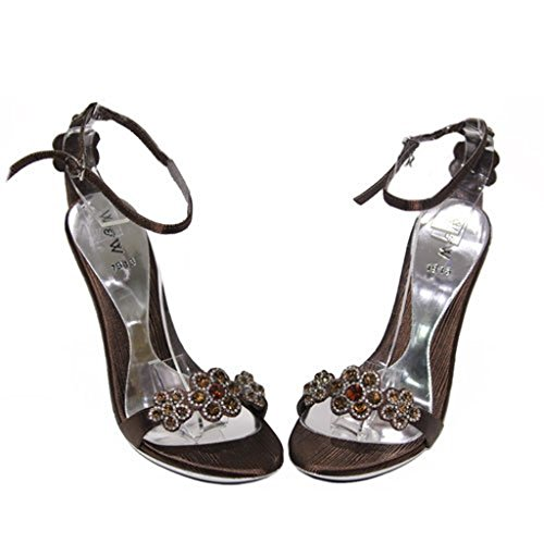 Evening Heel Party Diamante W amp;W RUBY Ladies Shoes Brown Red Brown Gold Silver Women Comfort Sandals Size qwBXt