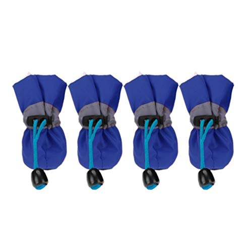 (Jim-Hugh Pet Dog Shoes Anti-Slip Rain Snow Boots Waterproof Winter Dog Puppy Footwear Thick Warm for Small Cats Dogs Booties)