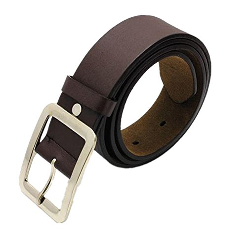 Makalon Men's Casual Faux Leather Buckle Belt (Free Size, Coffee) - Leather Square Buckle Belt