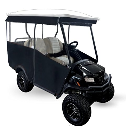 4 Person Golf Cart Cover - 3-Sided Track Style Sunbrella Canvas Cart Enclosure for Extended EZGO RXV 80