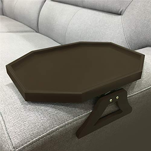 Wooden Sofa Couch Armrest Clip-On Table, Recliner Armrest Organizer Tray for Coffee/Snacks/Electronics (Cherry)