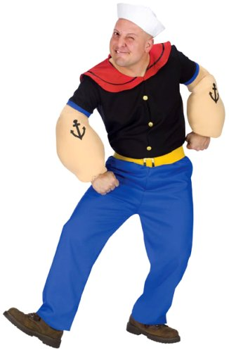 Fun World Costumes Men's Mens Popeye Costume, Blue, One Size -