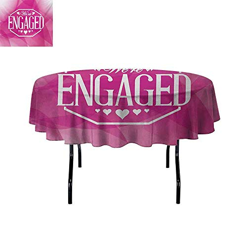 (GloriaJohnson Engagement+Party+Elastic+Edge+fit+Abstract+Celebration+Geometric+Backdrop+Engagement+Party+Image+Suitable+for+Most+Home+Decor+D43.3+Inch+Hot+Pink+and+White+)