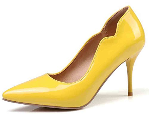 Easemax Womens Fashion Pointed Toe Low Cut High Stiletto Heel Pumps Shoes Yellow MoY0ywHKS