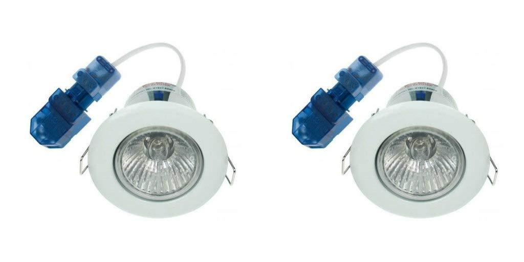 Pack of 2 x Click GU315WH Ovia Fire Rated Fixed Downlights GU10 White