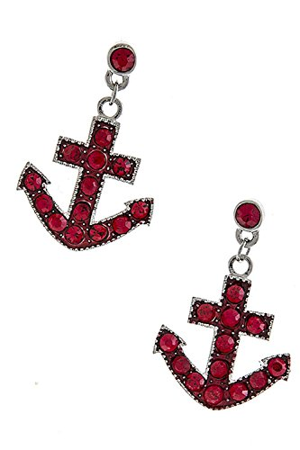 TRENDY FASHION JEWELRY CRYSTAL ANCHOR EARRINGS BY FASHION DESTINATION | (Red)