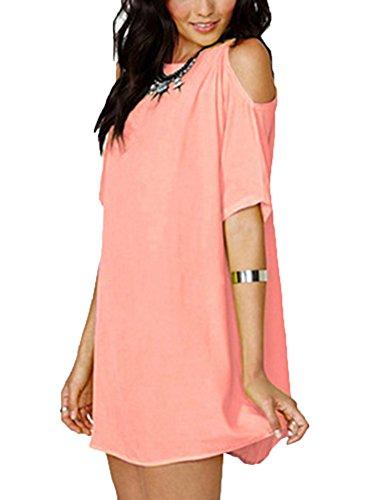 Manica T Corta Rosso Corallo Camicetta Elegante LaoZan Lungo Donna Casual Blusa Shirt Tunica 0tcOq